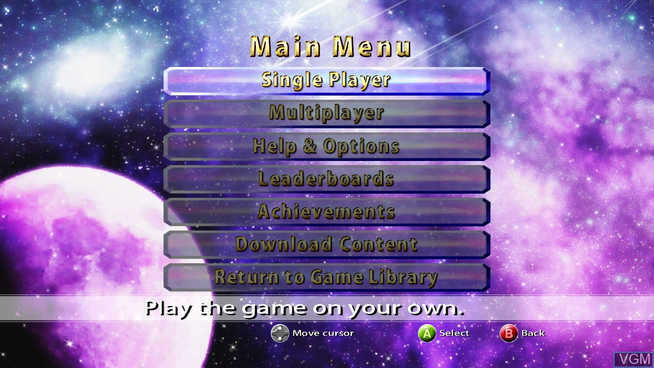 Menu screen of the game Puzzle Bobble Live! on Microsoft Xbox 360