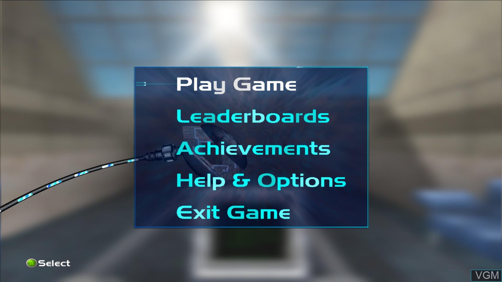 Menu screen of the game Perfect Dark on Microsoft Xbox 360