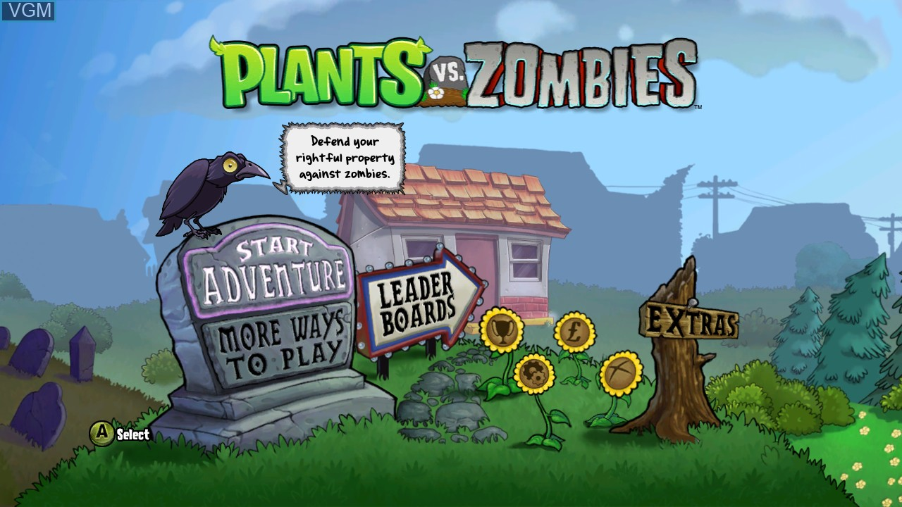 Menu screen of the game Plants vs. Zombies on Microsoft Xbox 360