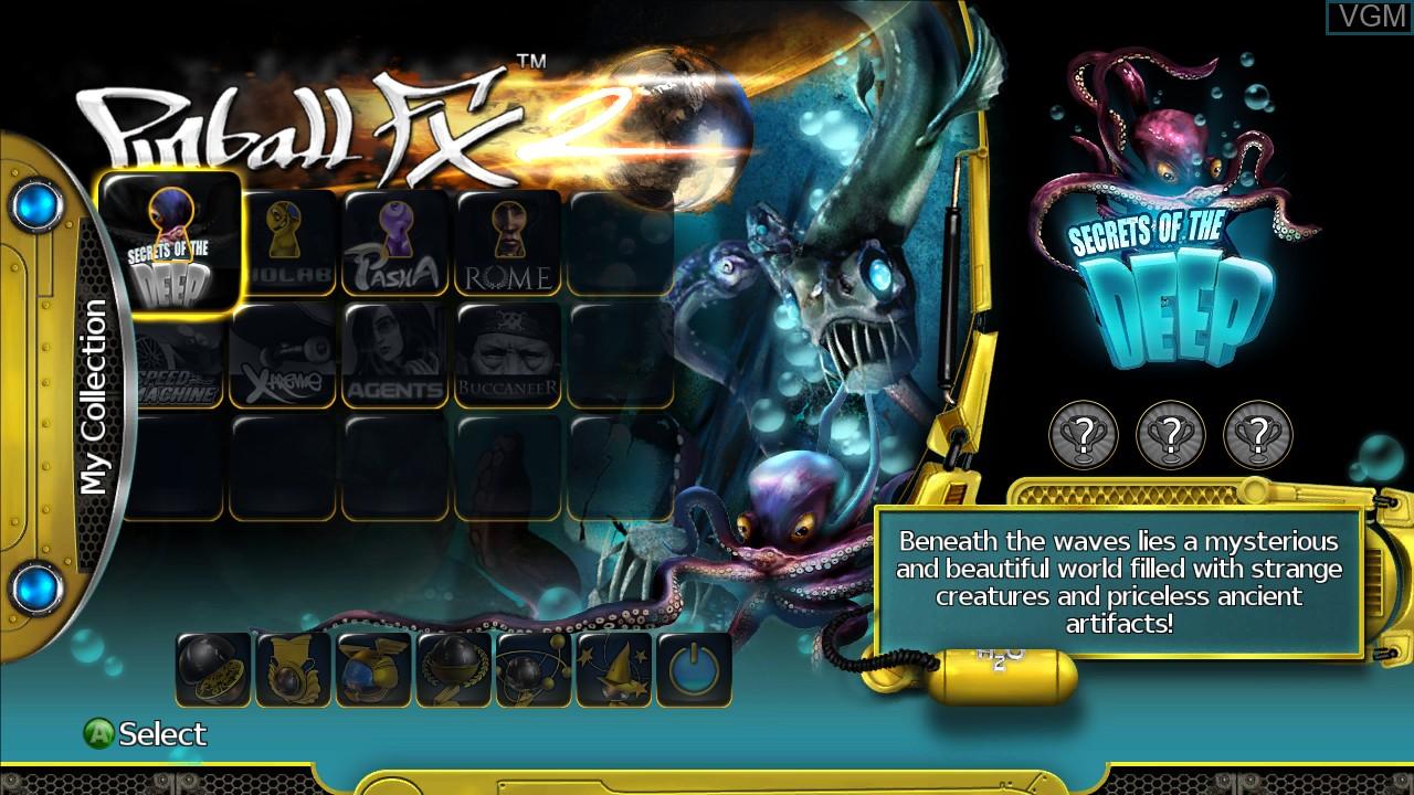 Menu screen of the game Pinball FX on Microsoft Xbox 360