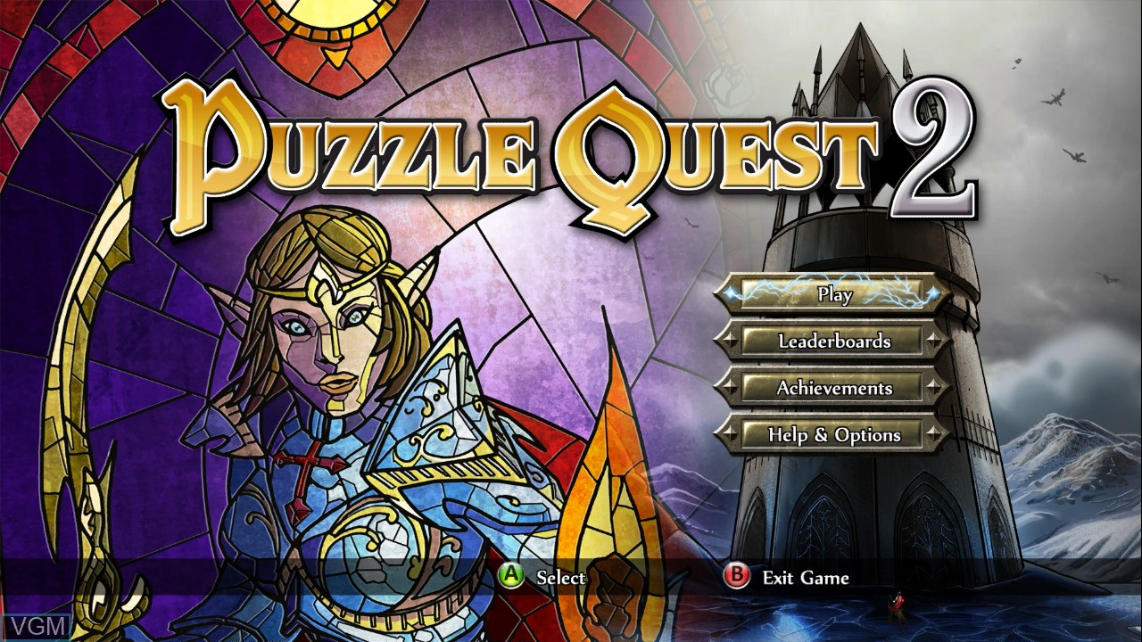 Menu screen of the game Puzzle Quest 2 on Microsoft Xbox 360