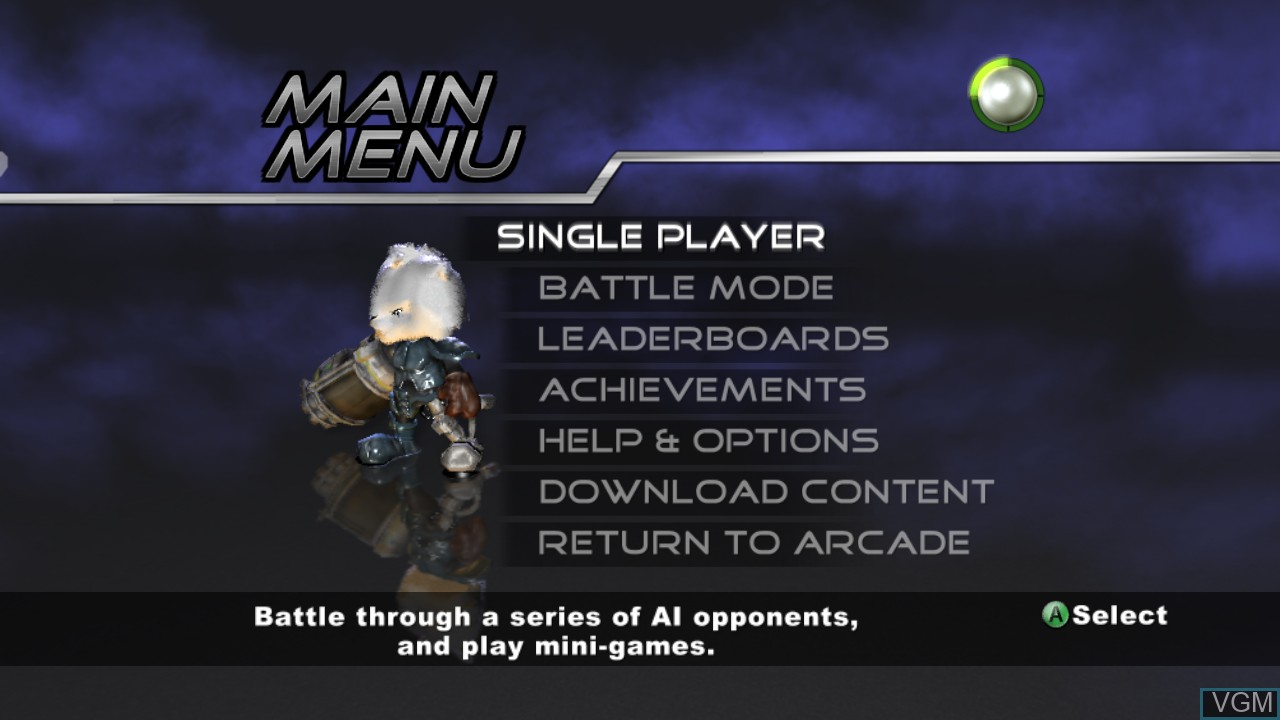 Menu screen of the game Small Arms on Microsoft Xbox 360