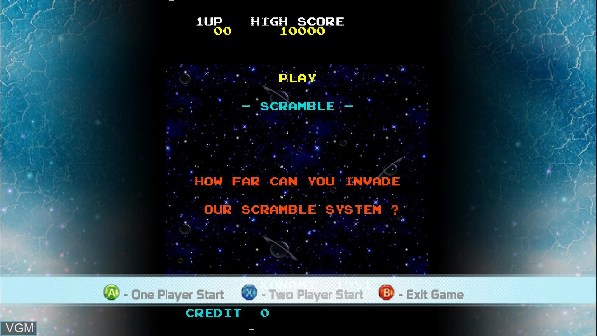 Menu screen of the game Scramble on Microsoft Xbox 360