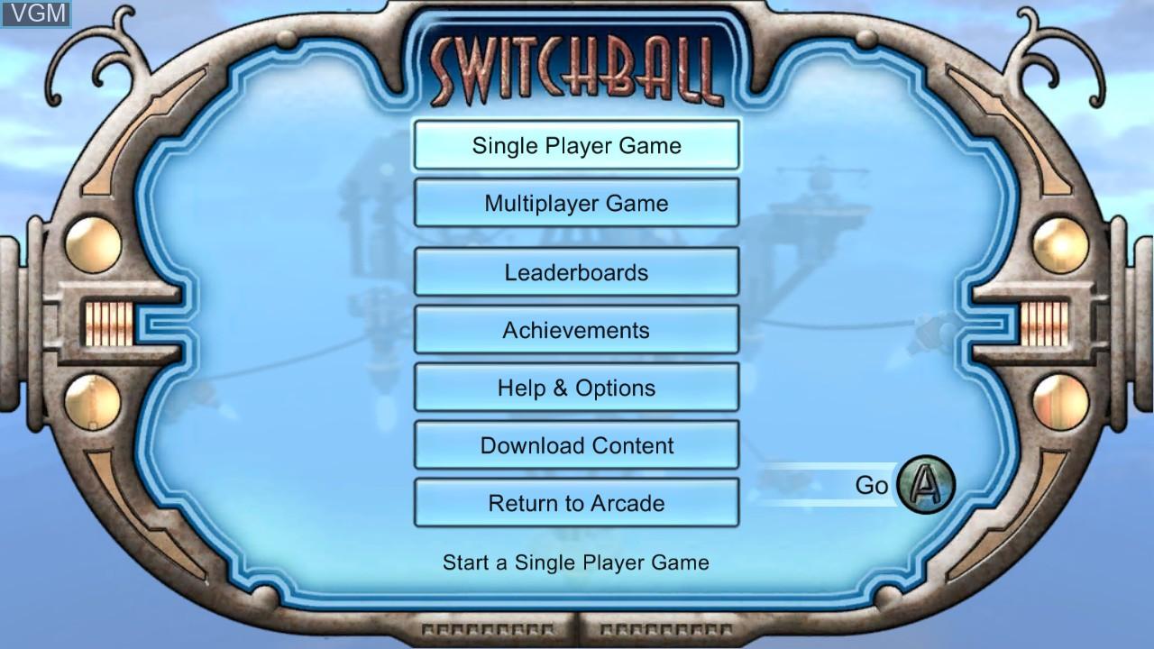 Menu screen of the game Switchball on Microsoft Xbox 360