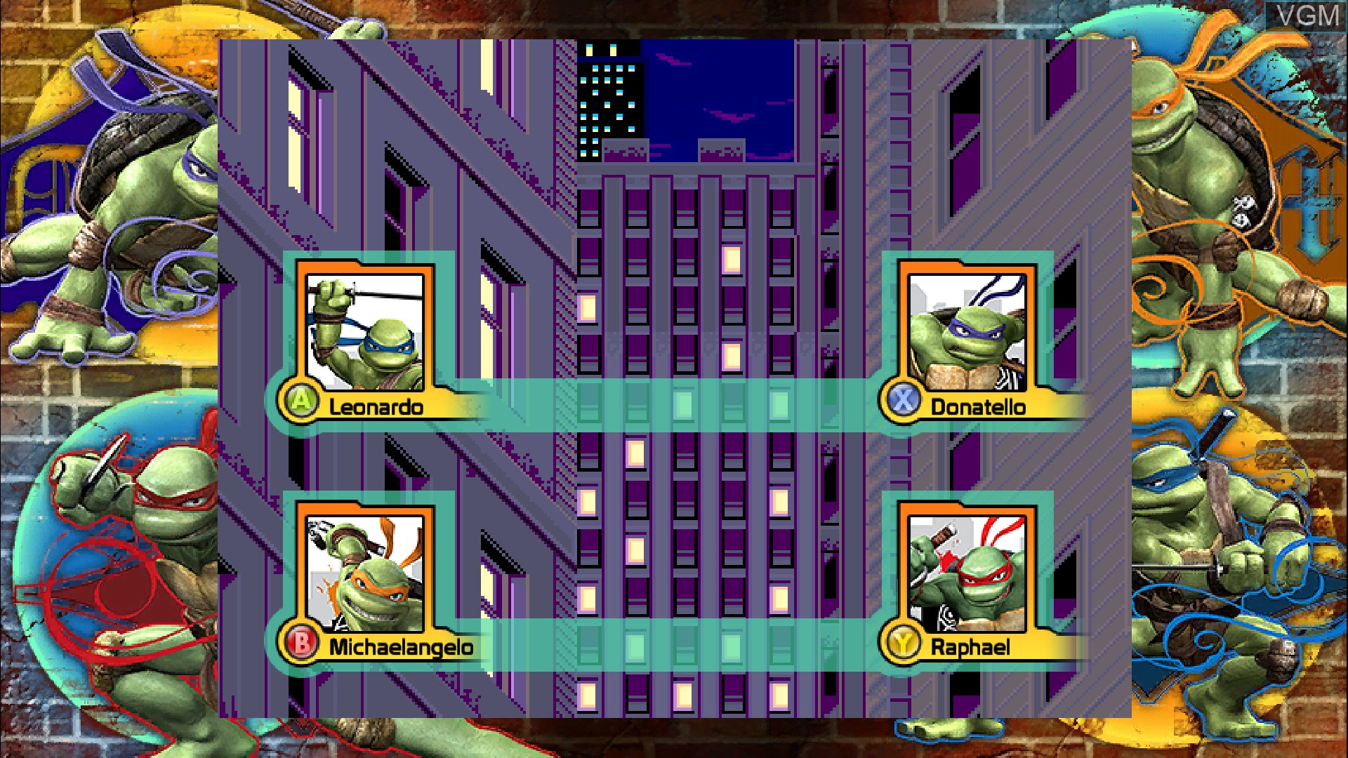 Menu screen of the game Teenage Mutant Ninja Turtles - 1989 Classic Arcade on Microsoft Xbox 360