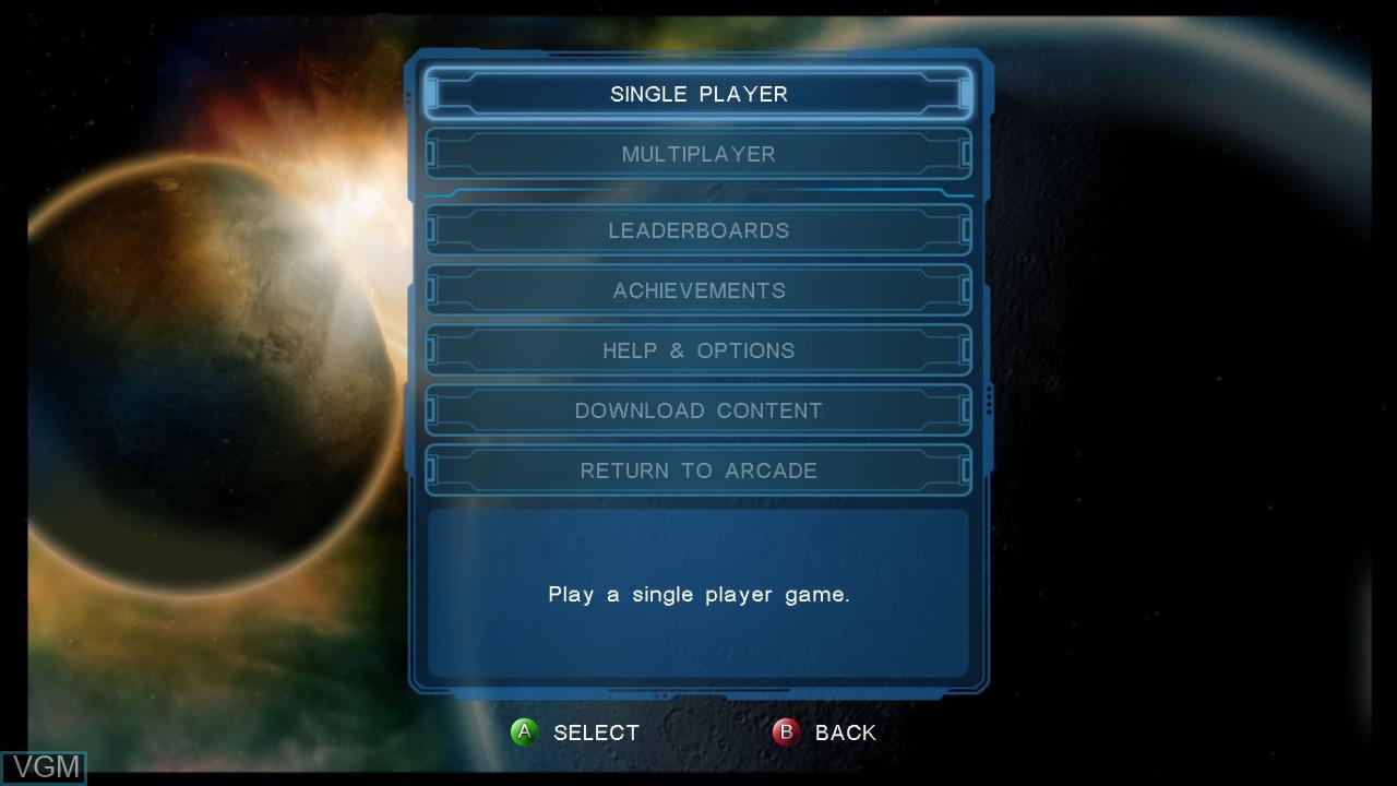 Menu screen of the game Shred Nebula on Microsoft Xbox 360