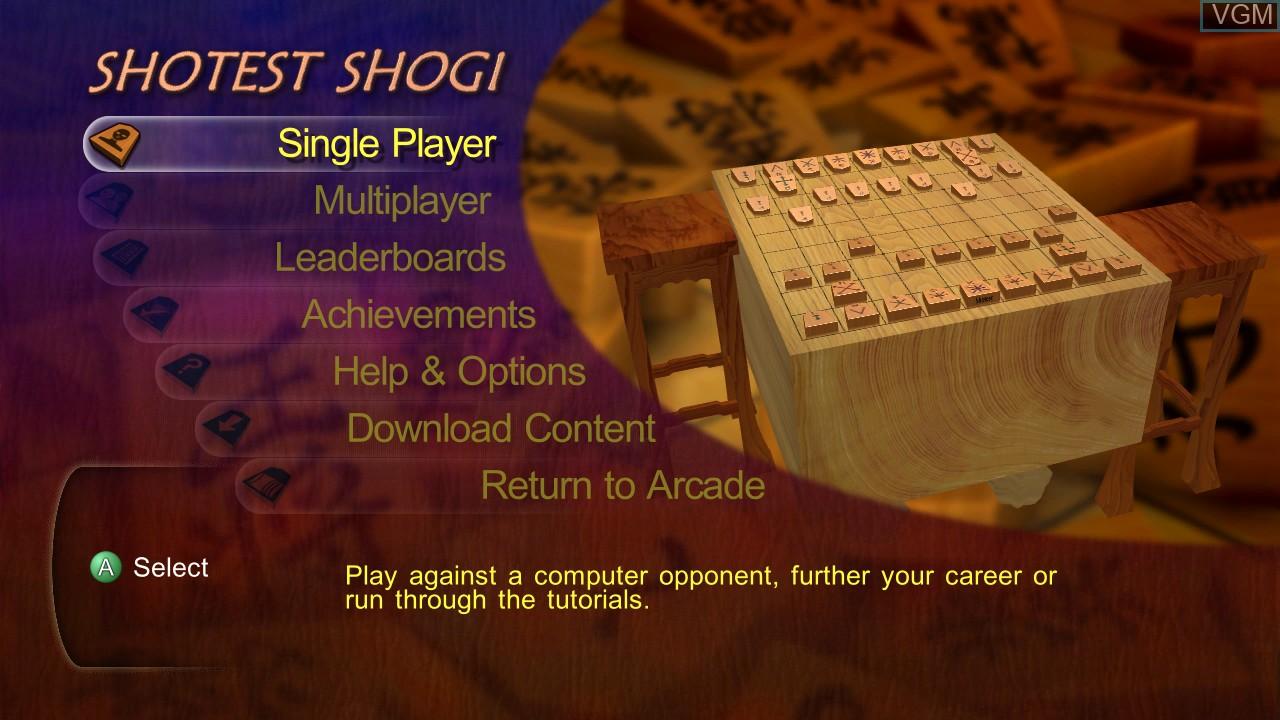 Menu screen of the game Shotest Shogi on Microsoft Xbox 360