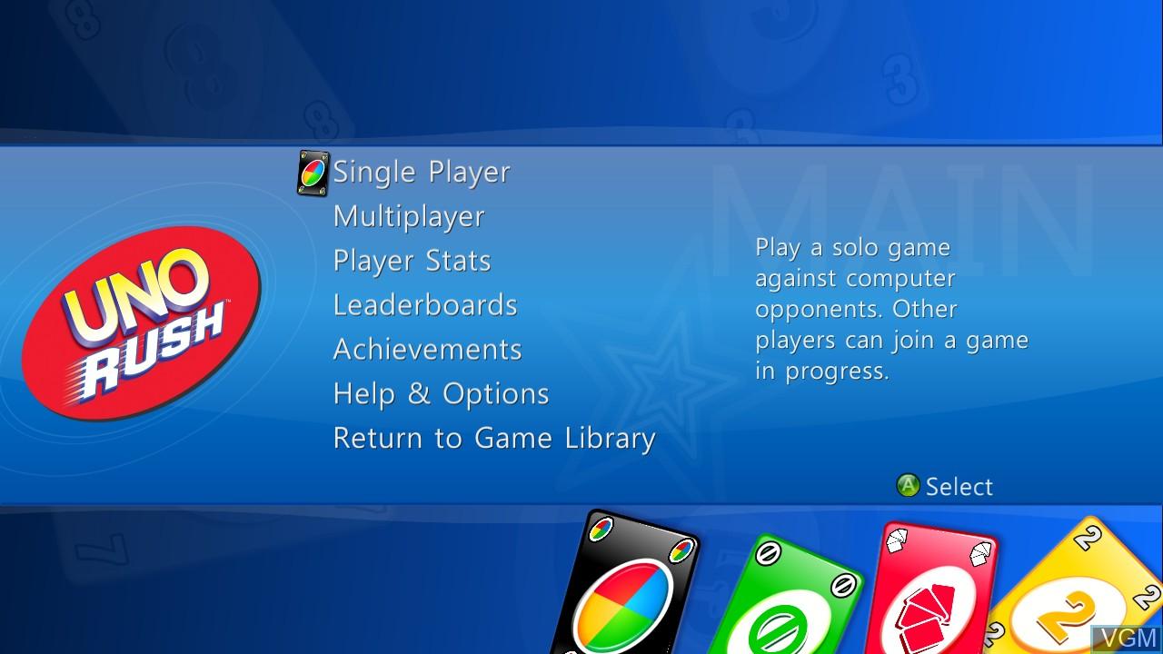 Menu screen of the game Uno Rush on Microsoft Xbox 360