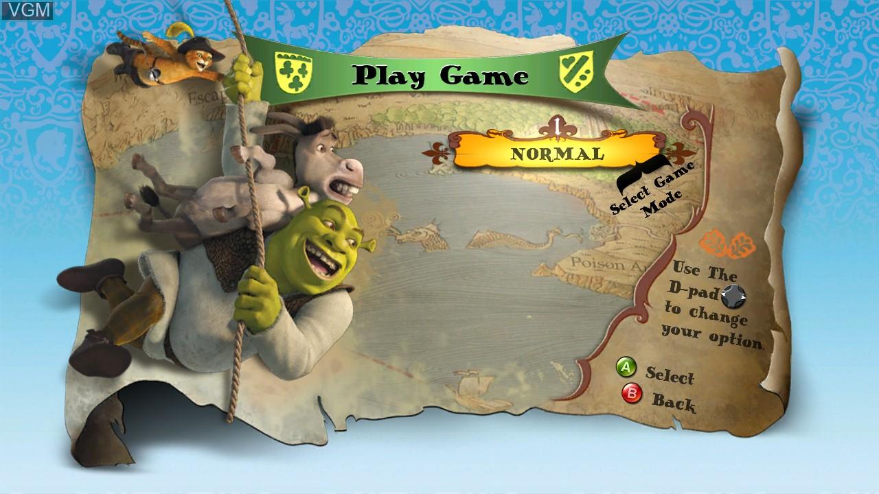 Menu screen of the game Shrek-N-Roll on Microsoft Xbox 360