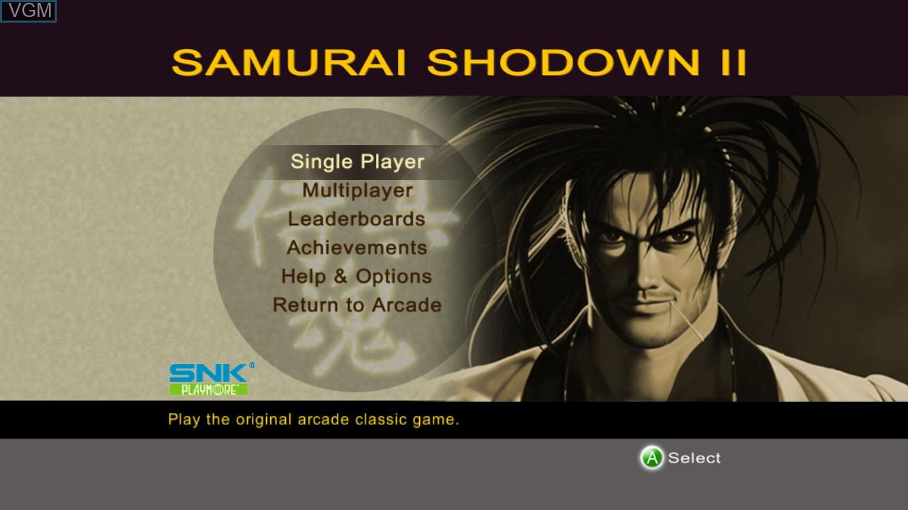 Menu screen of the game Samurai Shodown II on Microsoft Xbox 360