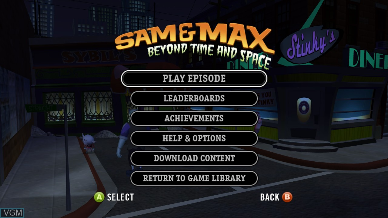 Menu screen of the game Sam & Max - Beyond Time and Space on Microsoft Xbox 360