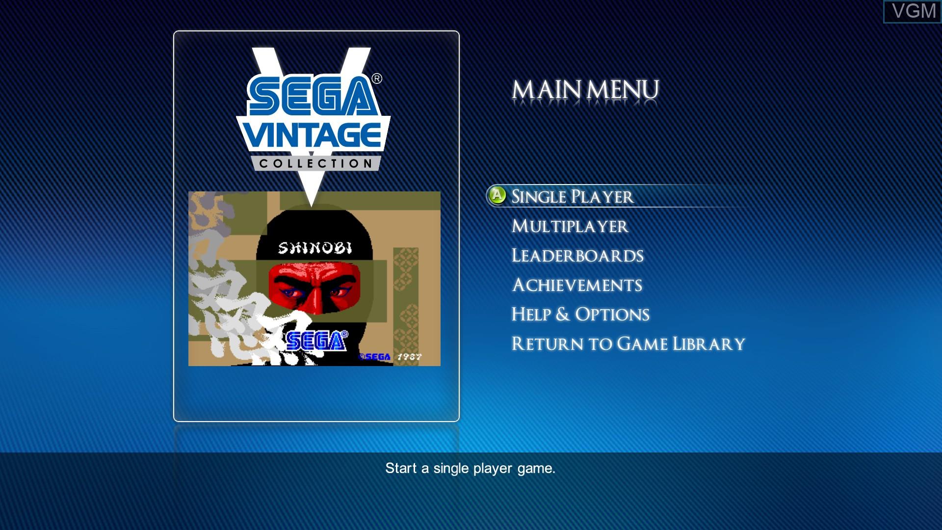 Menu screen of the game Shinobi on Microsoft Xbox 360
