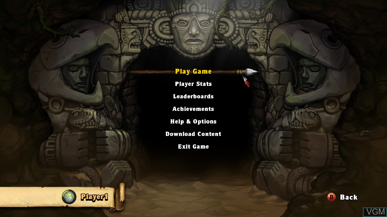 Menu screen of the game Spelunky! on Microsoft Xbox 360