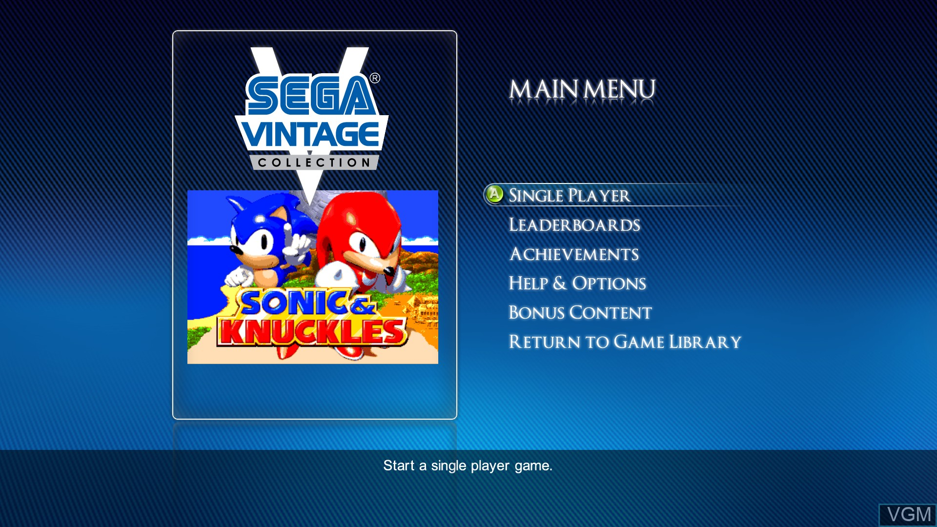 Menu screen of the game Sonic & Knuckles on Microsoft Xbox 360