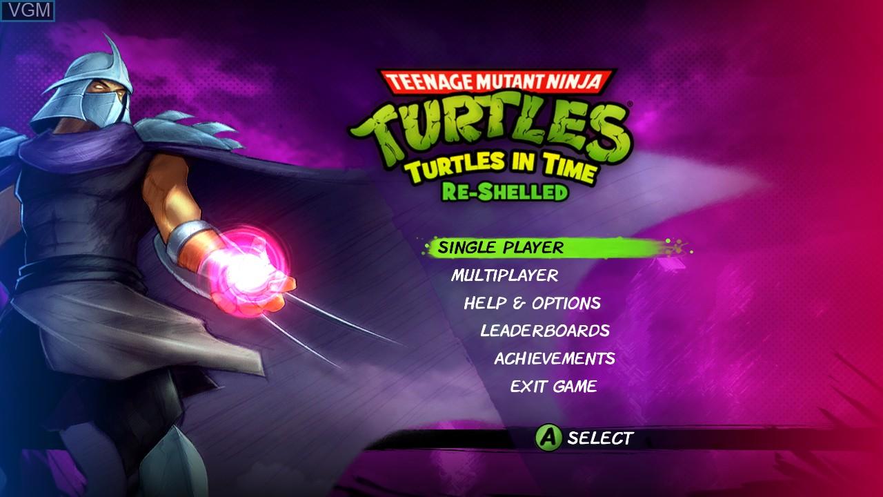 Menu screen of the game Teenage Mutant Ninja Turtles - Turtles in Time Re-Shelled on Microsoft Xbox 360