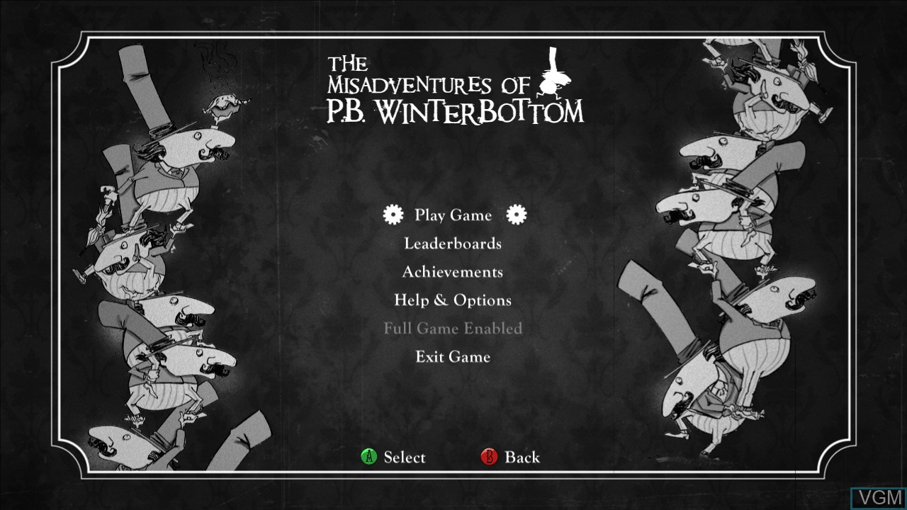 Menu screen of the game Misadventures of P.B. Winterbottom, The on Microsoft Xbox 360