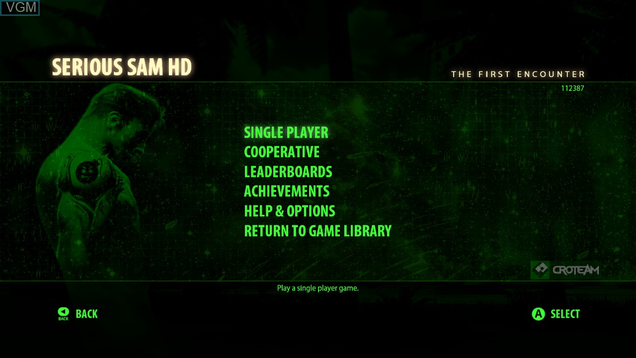 Menu screen of the game Serious Sam HD - The First Encounter on Microsoft Xbox 360