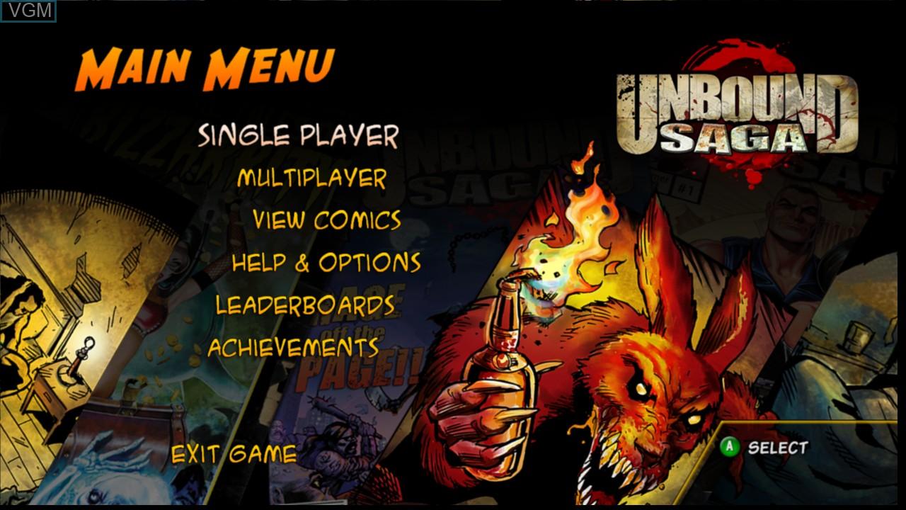 Menu screen of the game Unbound Saga on Microsoft Xbox 360