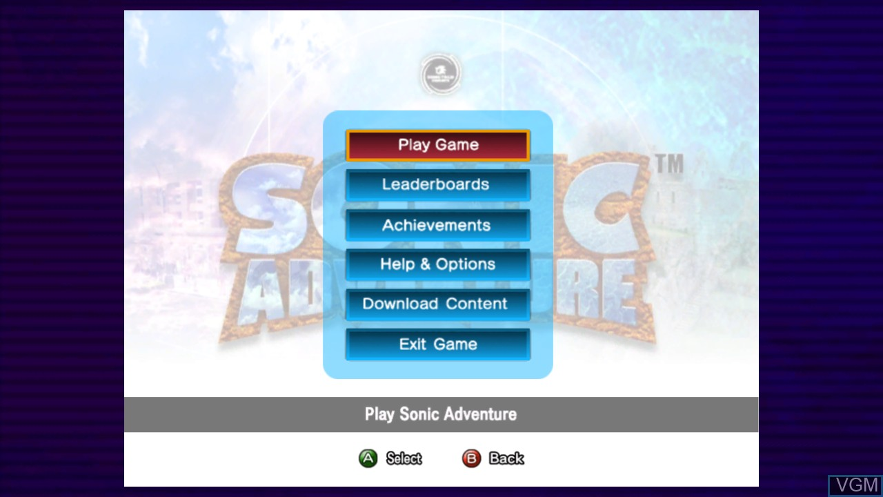 Menu screen of the game Sonic Adventure on Microsoft Xbox 360