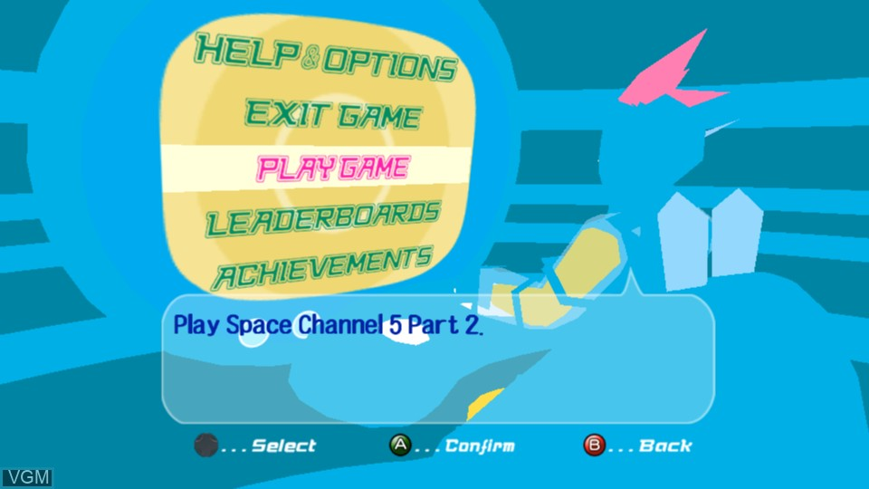 Menu screen of the game Space Channel 5 Part 2 on Microsoft Xbox 360