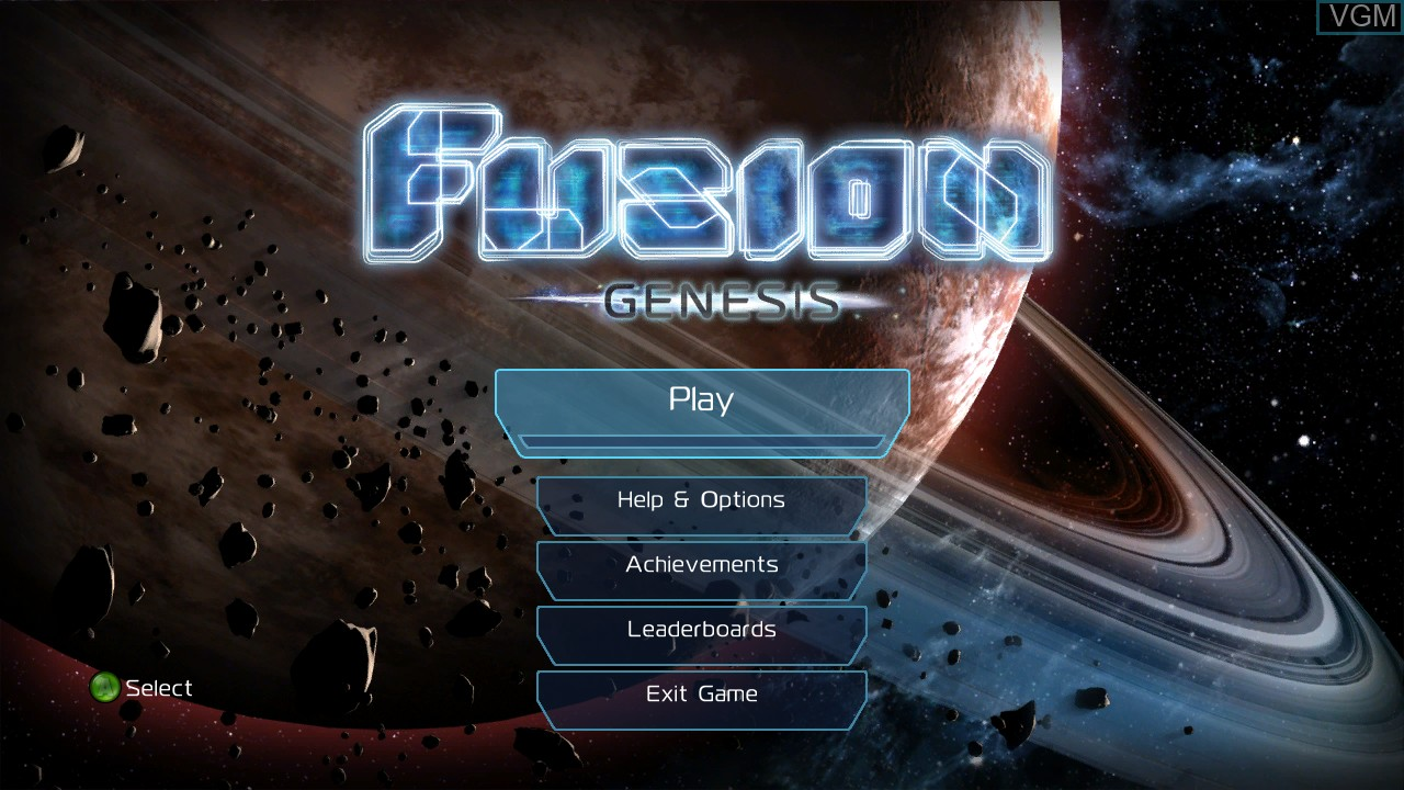 Menu screen of the game Fusion - Genesis on Microsoft Xbox 360