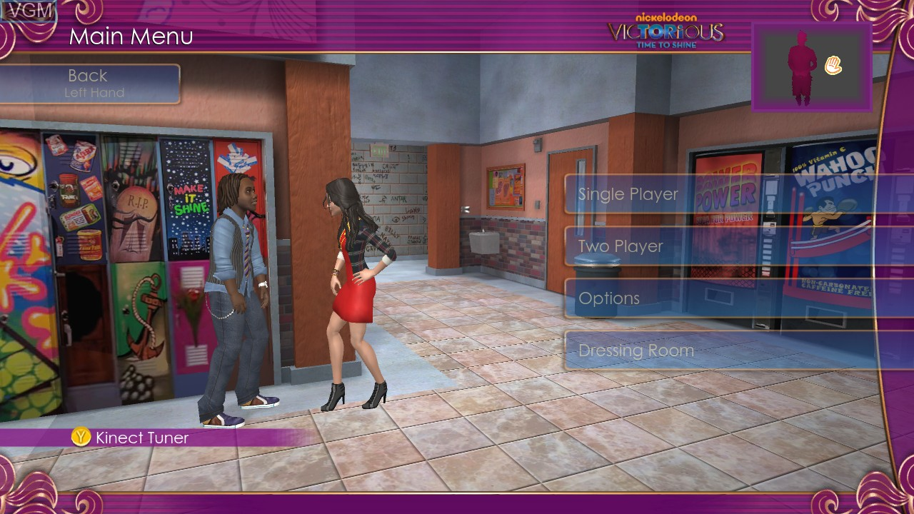 Menu screen of the game Victorious - Time to Shine on Microsoft Xbox 360