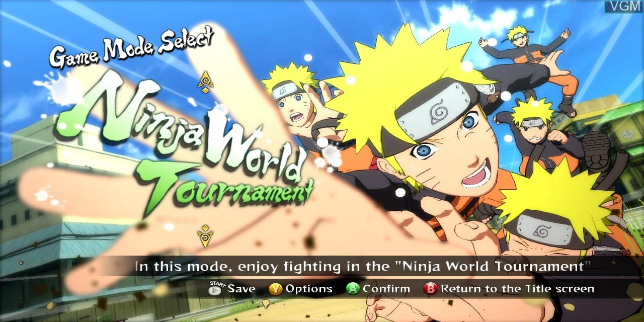 Menu screen of the game Naruto Shippuden - Ultimate Ninja Storm Revolution on Microsoft Xbox 360