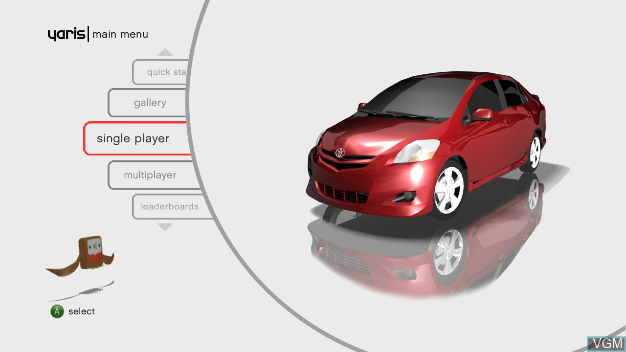 Menu screen of the game Yaris on Microsoft Xbox 360