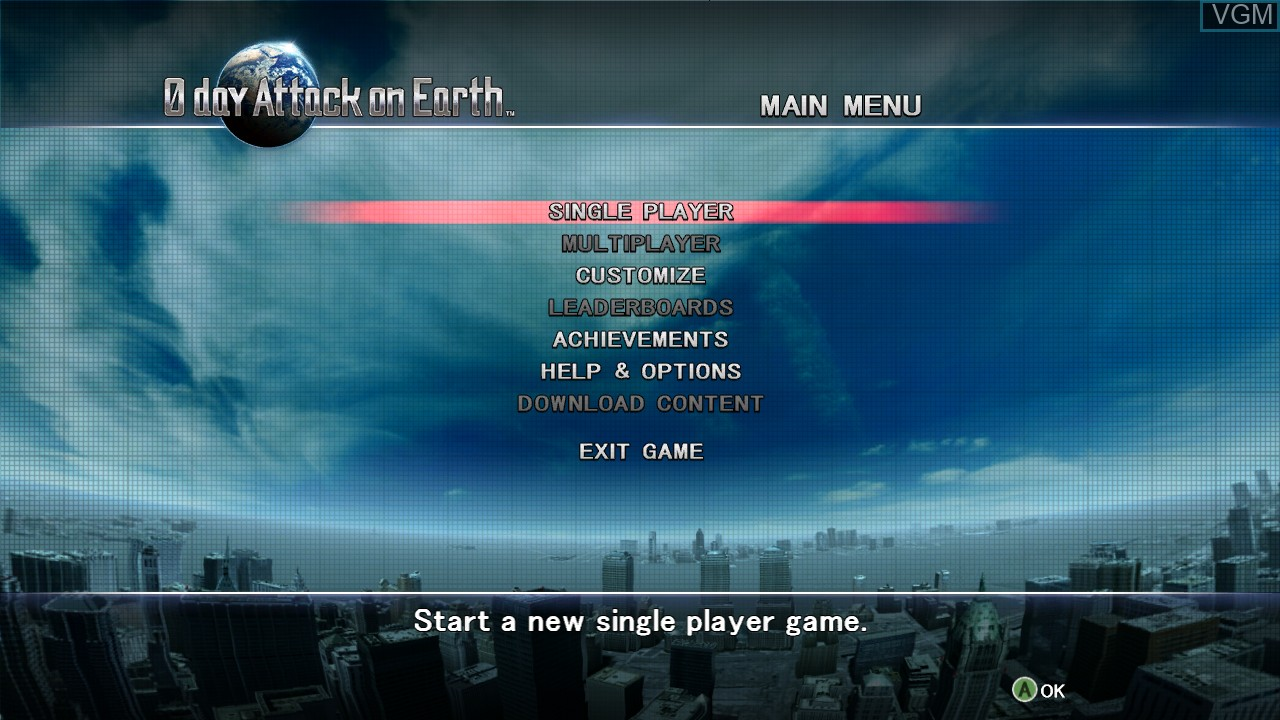 Menu screen of the game 0 Day Attack on Earth on Microsoft Xbox 360