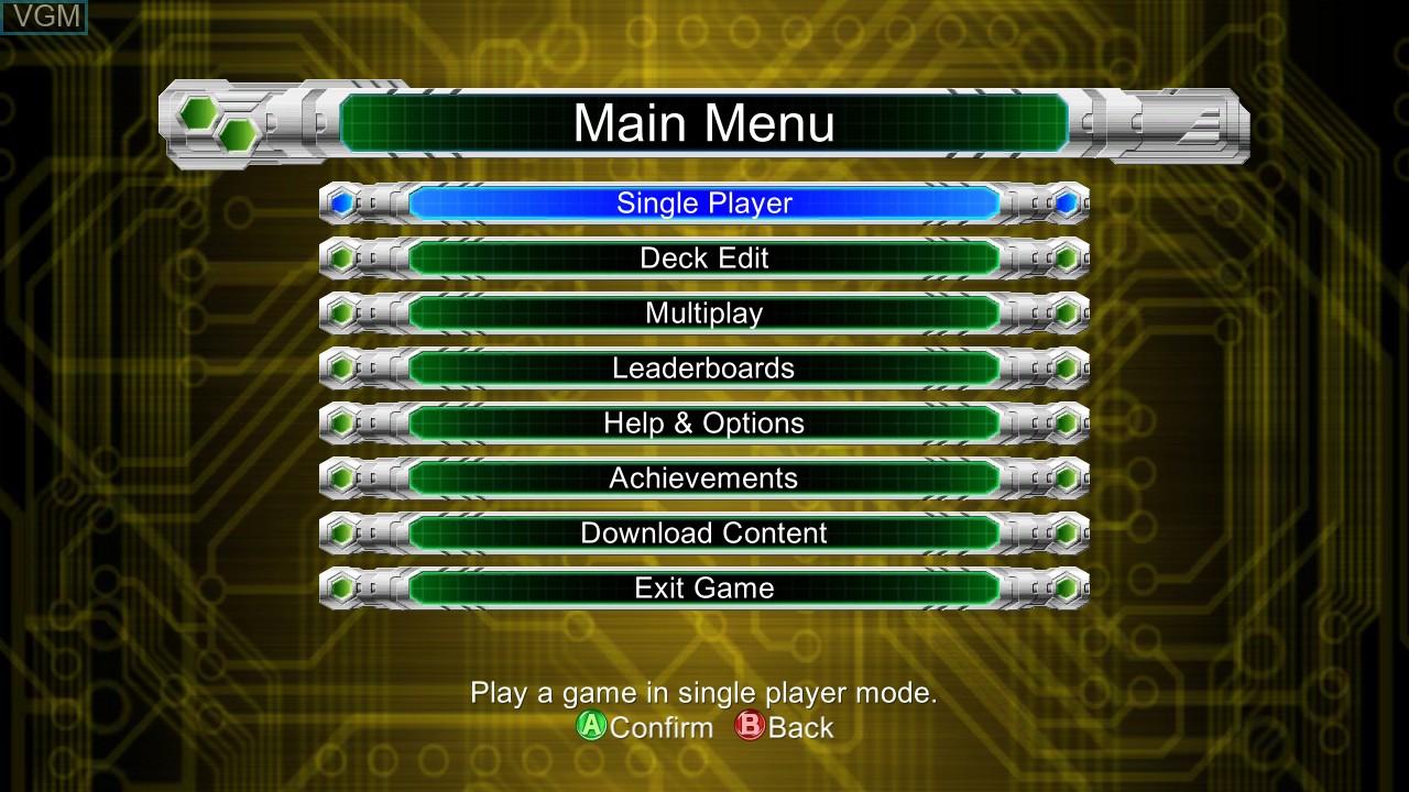 Menu screen of the game Yu-Gi-Oh! 5D's Decade Duels on Microsoft Xbox 360