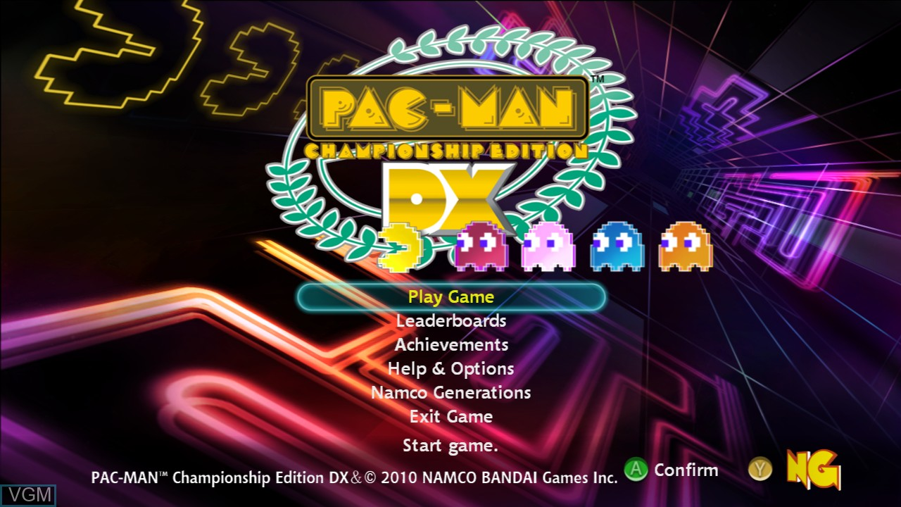 Menu screen of the game Pac-Man Championship Edition DX on Microsoft Xbox 360