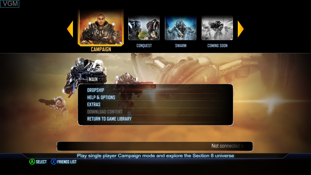 Menu screen of the game Section 8 - Prejudice on Microsoft Xbox 360