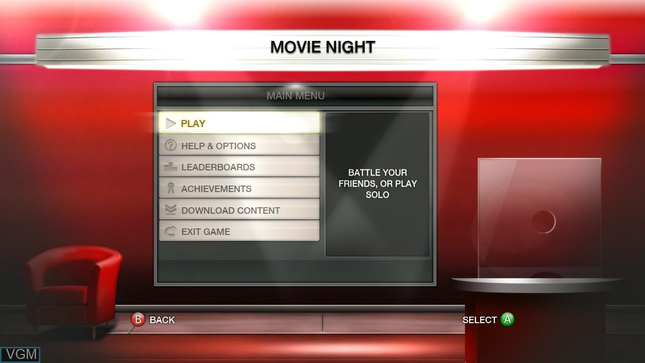 Menu screen of the game Scene It? Movie Night on Microsoft Xbox 360