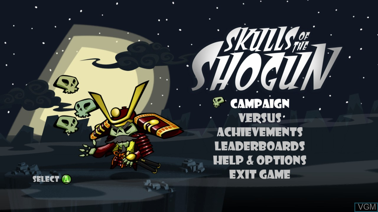 Menu screen of the game Skulls of the Shogun on Microsoft Xbox 360