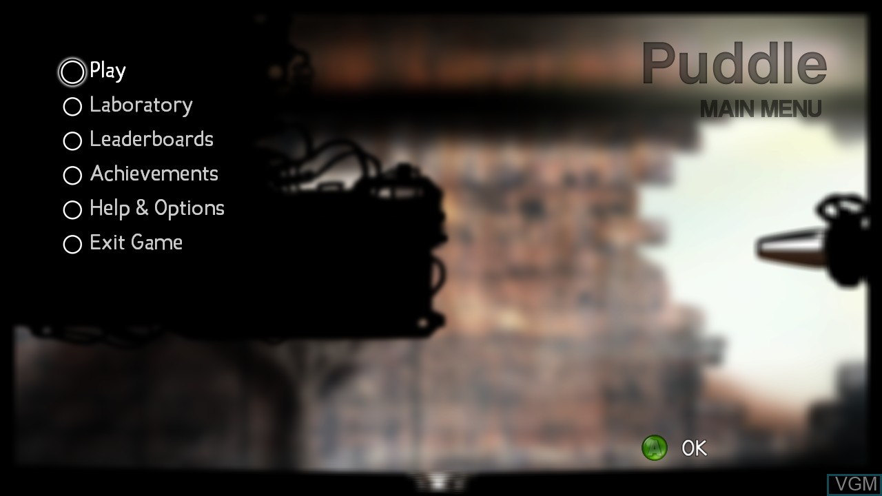 Menu screen of the game Puddle on Microsoft Xbox 360
