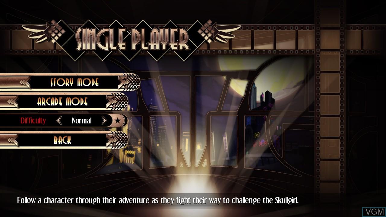 Menu screen of the game Skullgirls on Microsoft Xbox 360