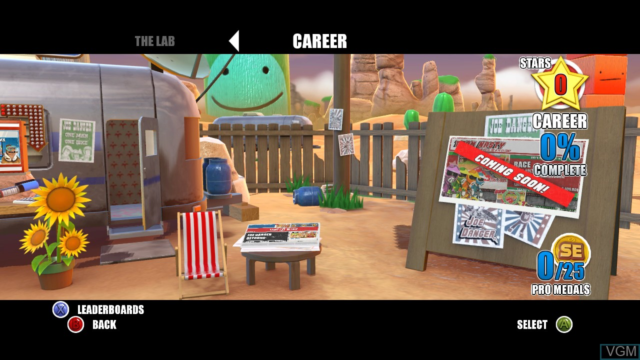 Menu screen of the game Joe Danger - Special Edition on Microsoft Xbox 360