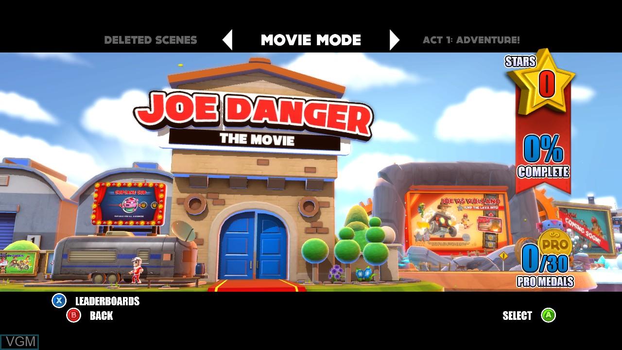 Menu screen of the game Joe Danger 2 - The Movie on Microsoft Xbox 360