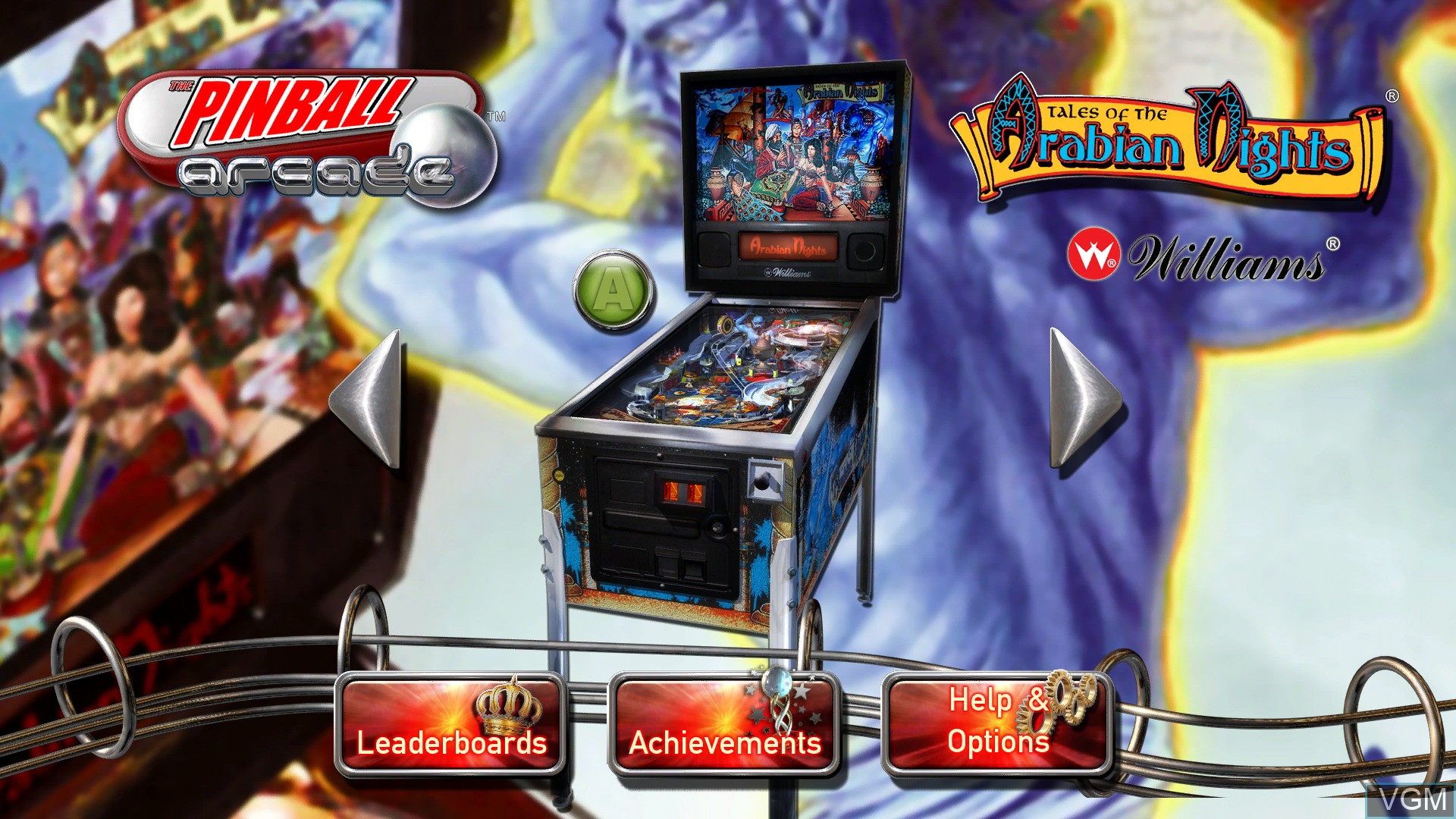 Menu screen of the game Pinball Arcade, The on Microsoft Xbox 360