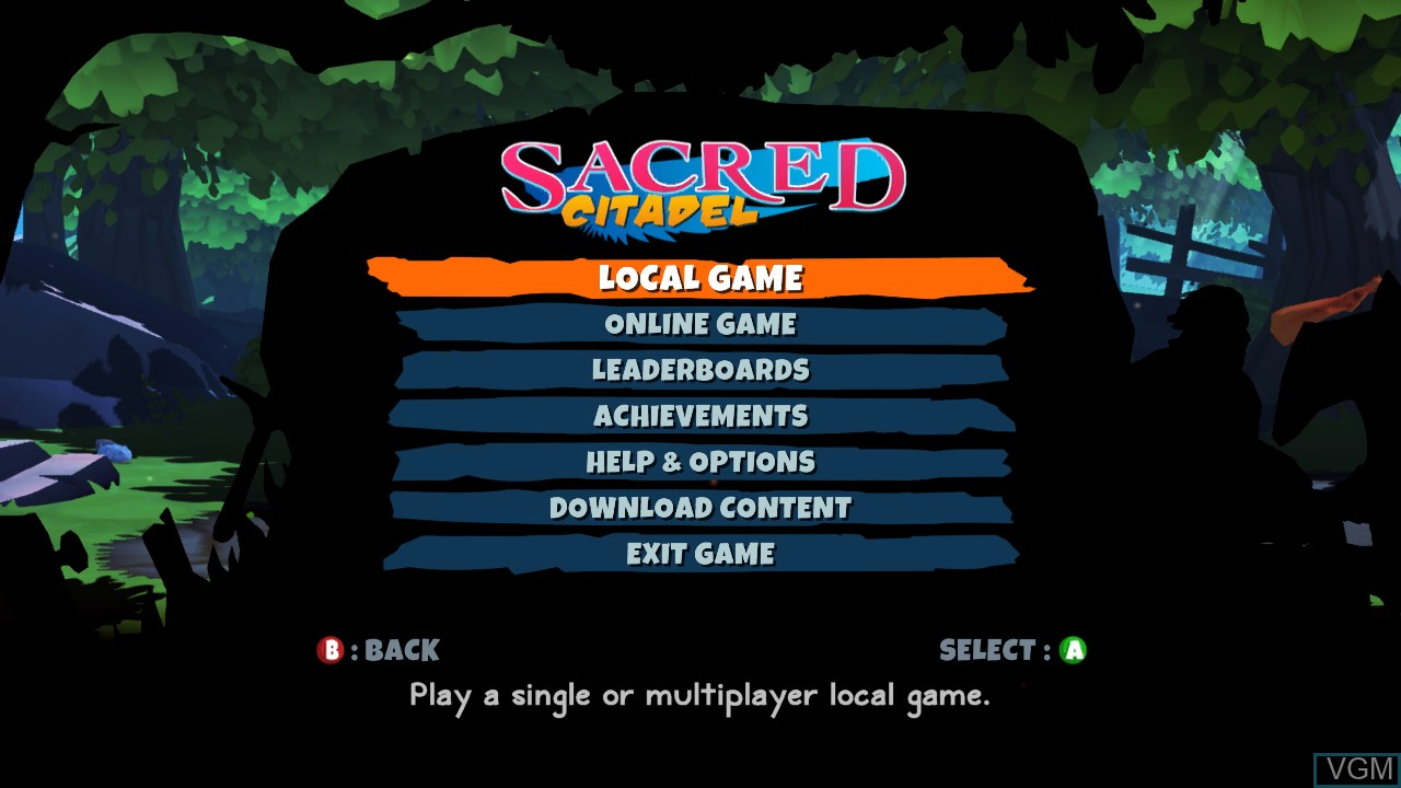 Menu screen of the game Sacred Citadel on Microsoft Xbox 360