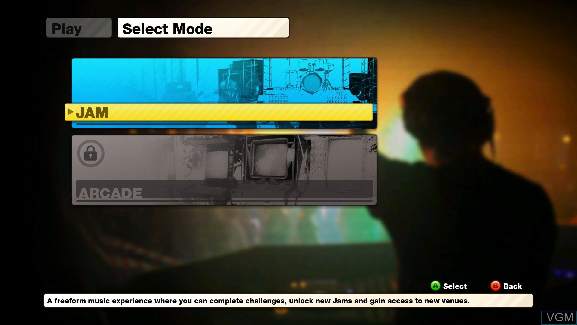 Menu screen of the game JAM Live Music Arcade on Microsoft Xbox 360