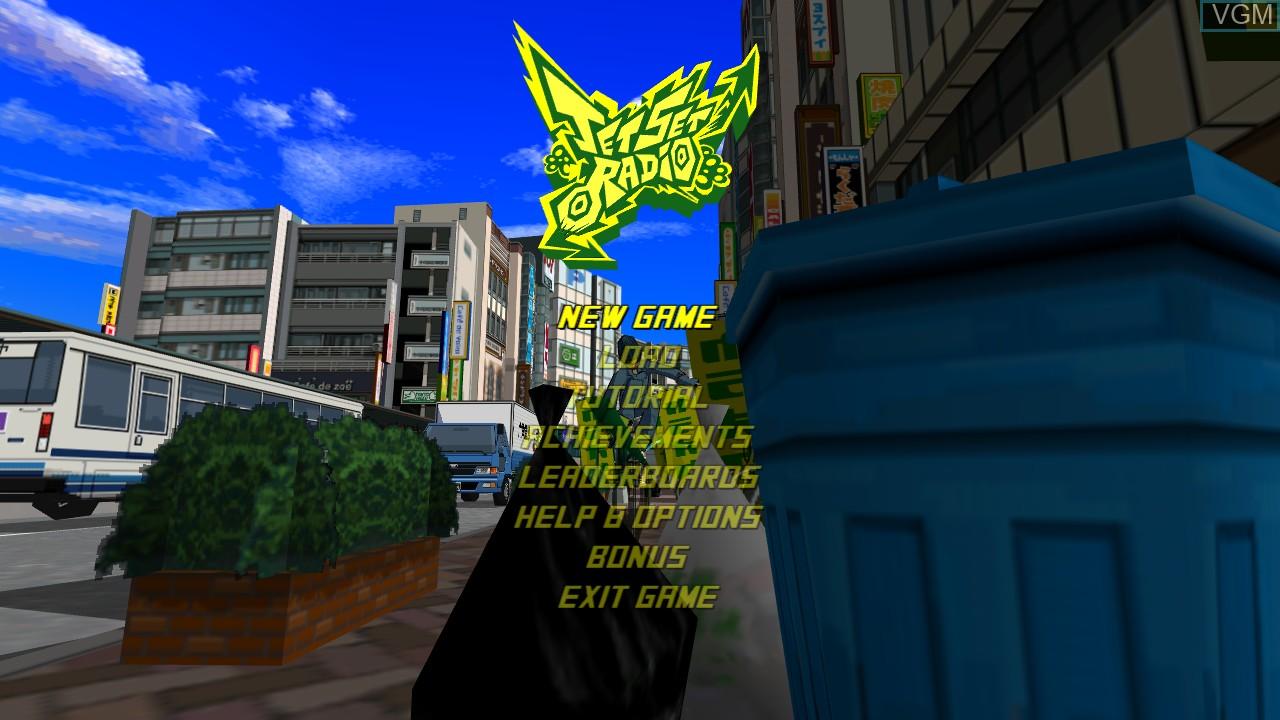 Menu screen of the game Jet Set Radio on Microsoft Xbox 360