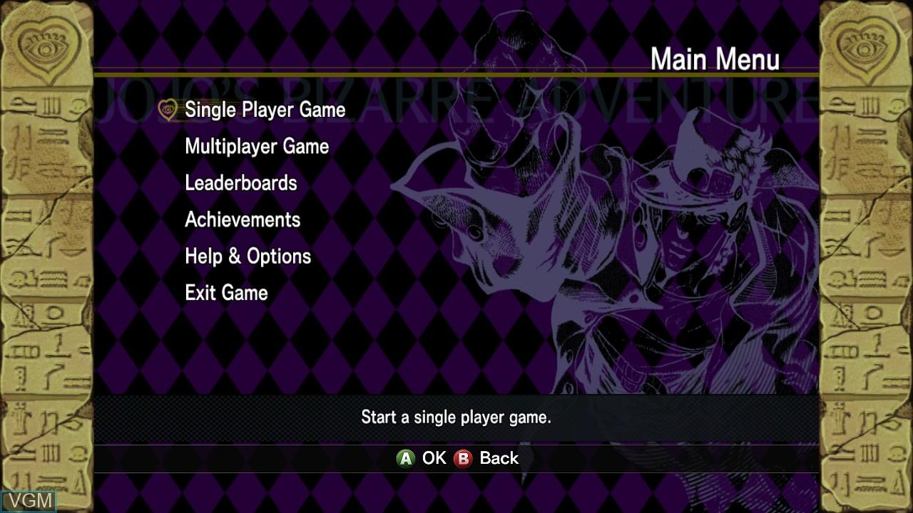Menu screen of the game JoJo's Bizarre Adventure HD Ver. on Microsoft Xbox 360