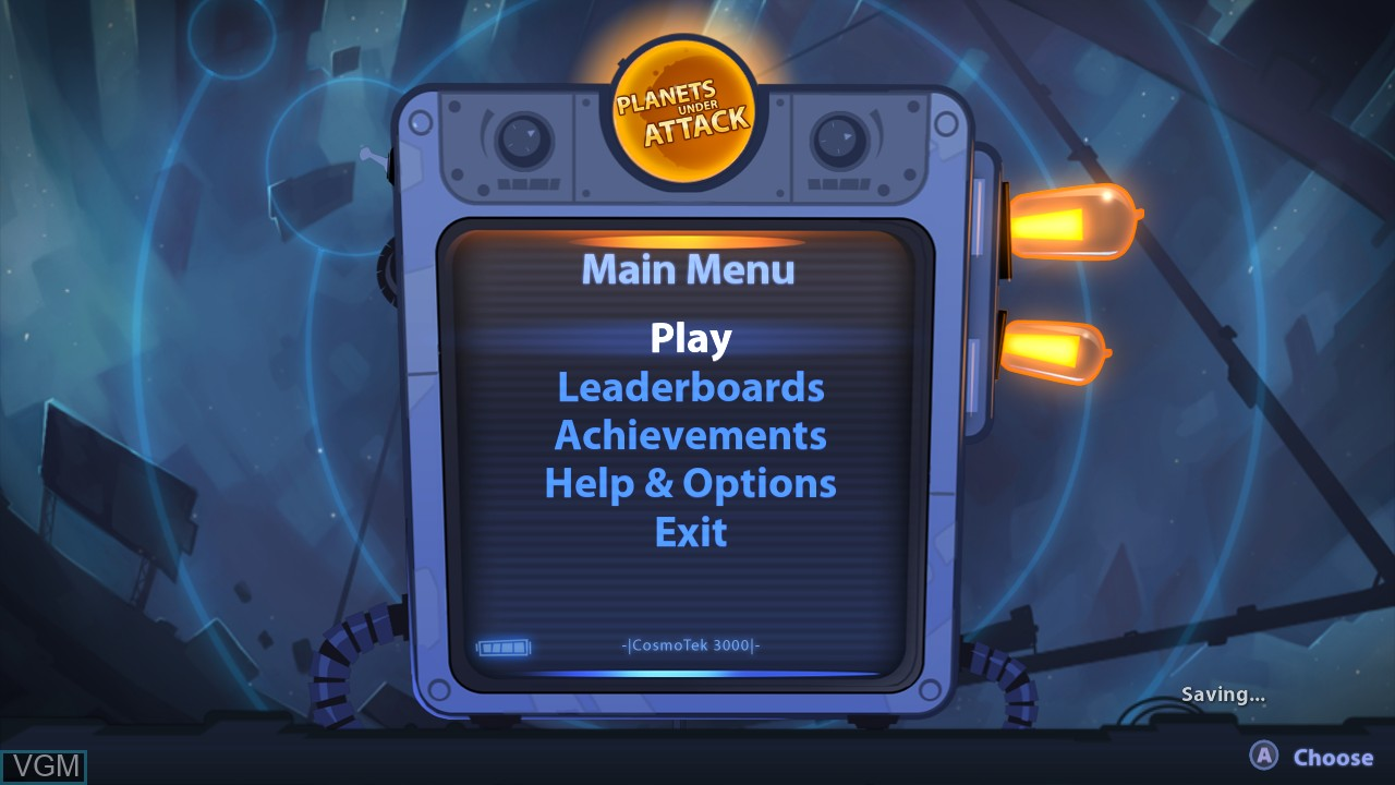 Menu screen of the game Planets Under Attack on Microsoft Xbox 360