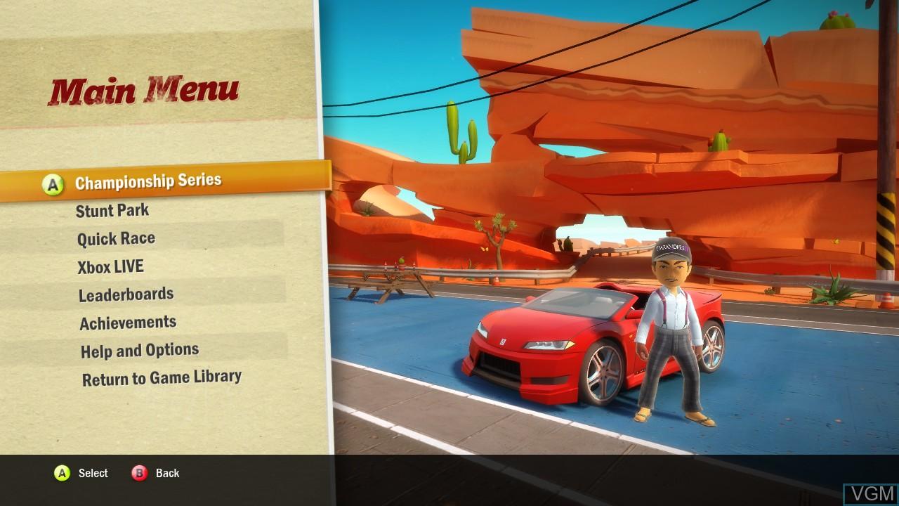 Menu screen of the game Joy Ride Turbo on Microsoft Xbox 360