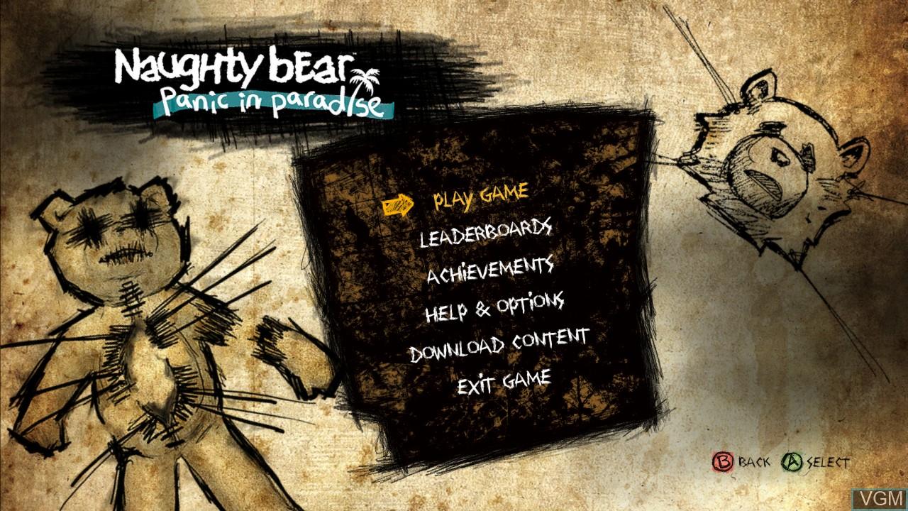 Menu screen of the game Naughty Bear - Panic in Paradise on Microsoft Xbox 360