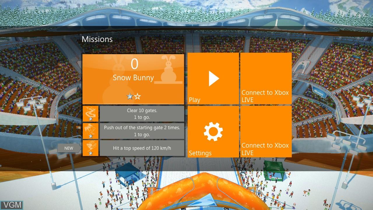 Menu screen of the game Ski Race on Microsoft Xbox 360
