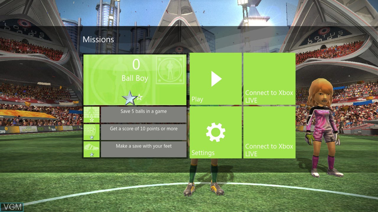 Menu screen of the game Kinect Sports - Penalty Saver on Microsoft Xbox 360