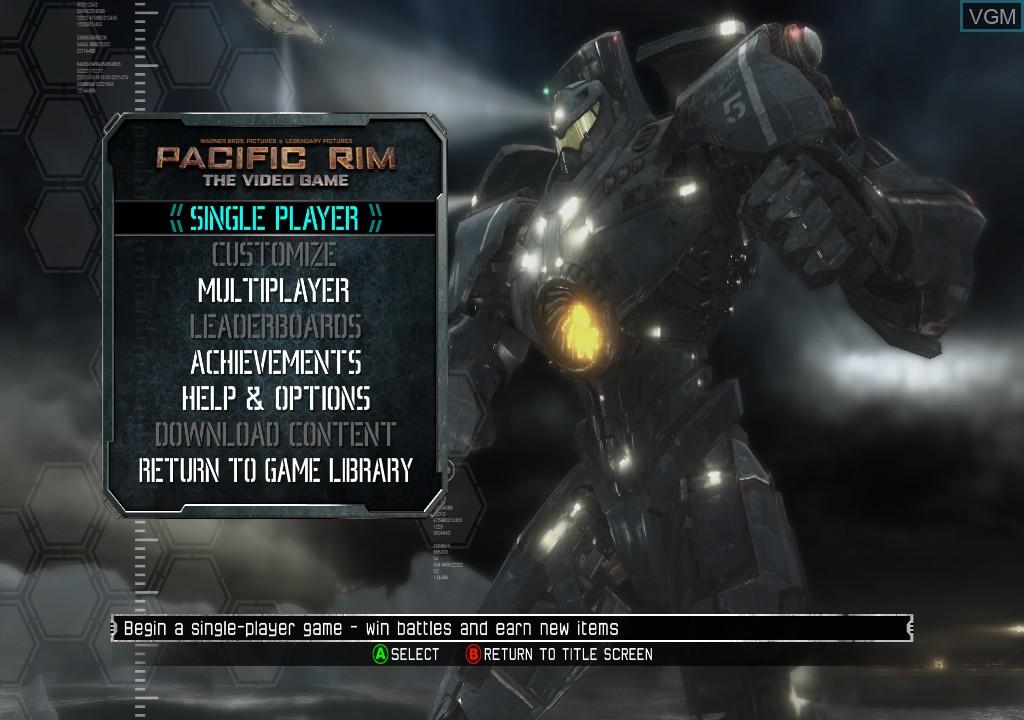 Menu screen of the game Pacific Rim on Microsoft Xbox 360