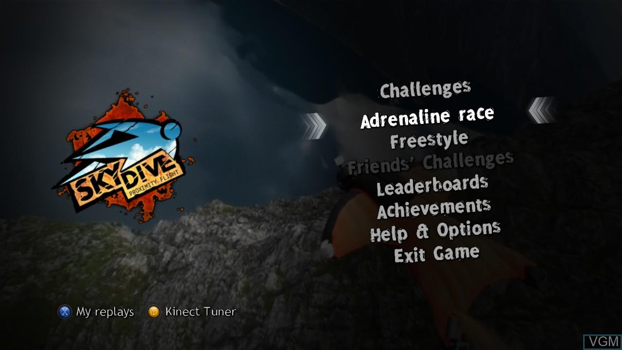 Menu screen of the game Skydive - Proximity Flight on Microsoft Xbox 360